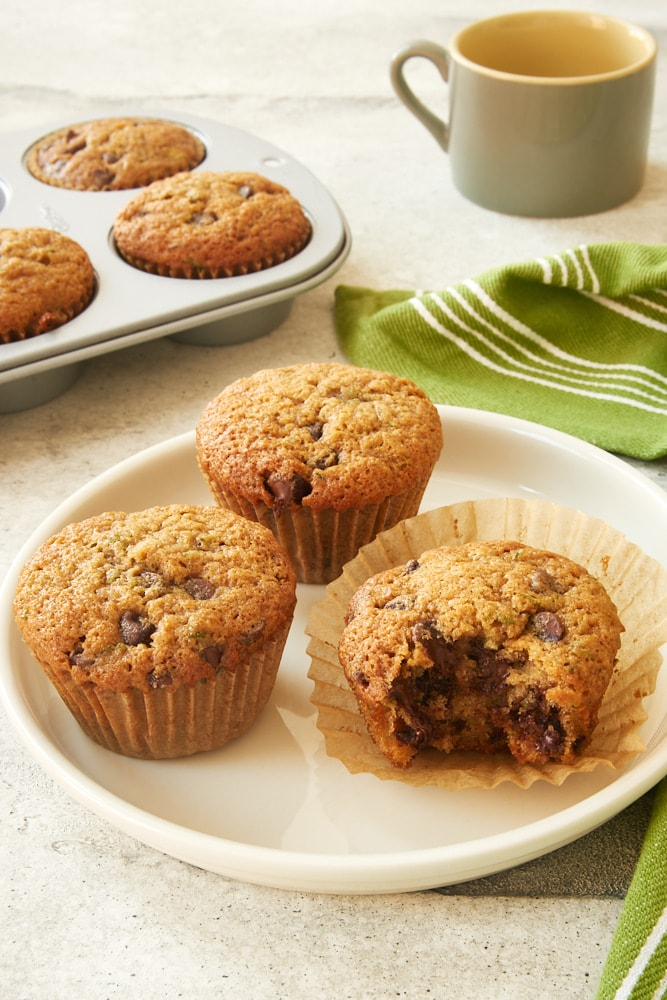 Chocolate Chip Zucchini Muffins on a white plate