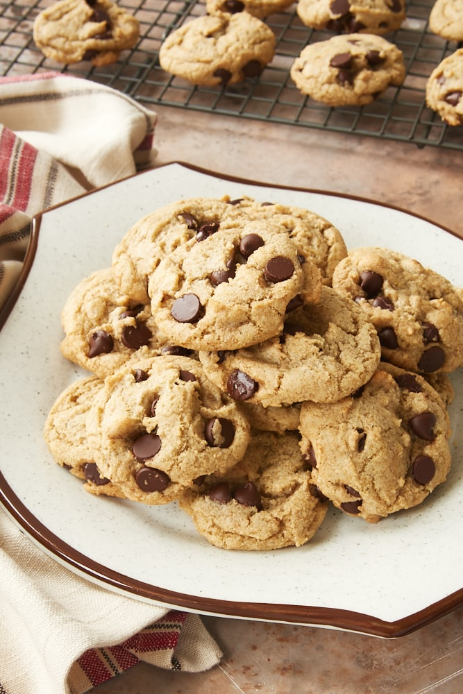 Rye Chocolate Chip Cookies on a white and brown plate