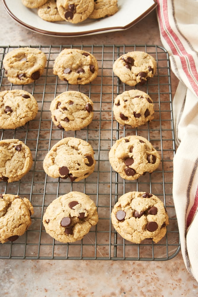 Rye Chocolate Chip Cookies on a wire cooling rack