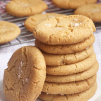 stack of Browned Butter Salty Sugar Cookies on a white plate