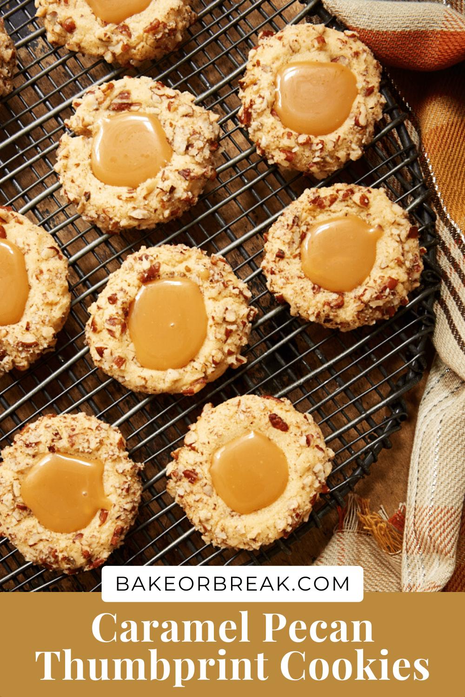 Caramel Pecan Thumbprint Cookies bakeorbreak.com