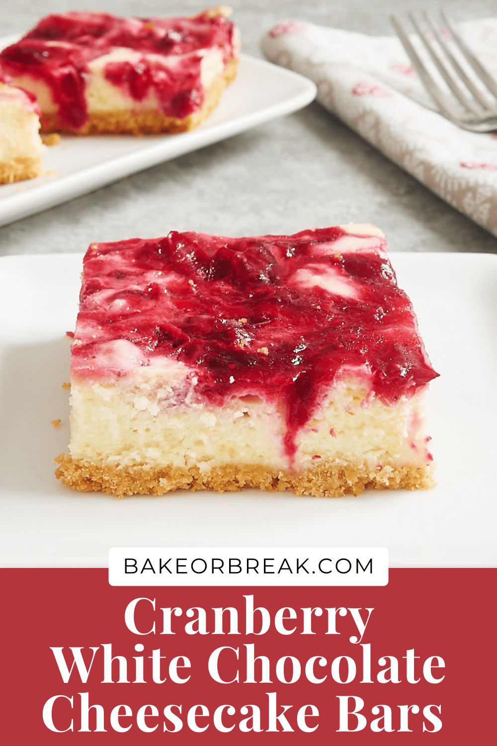 Cranberry White Chocolate Cheesecake Bars bakeorbreak.com