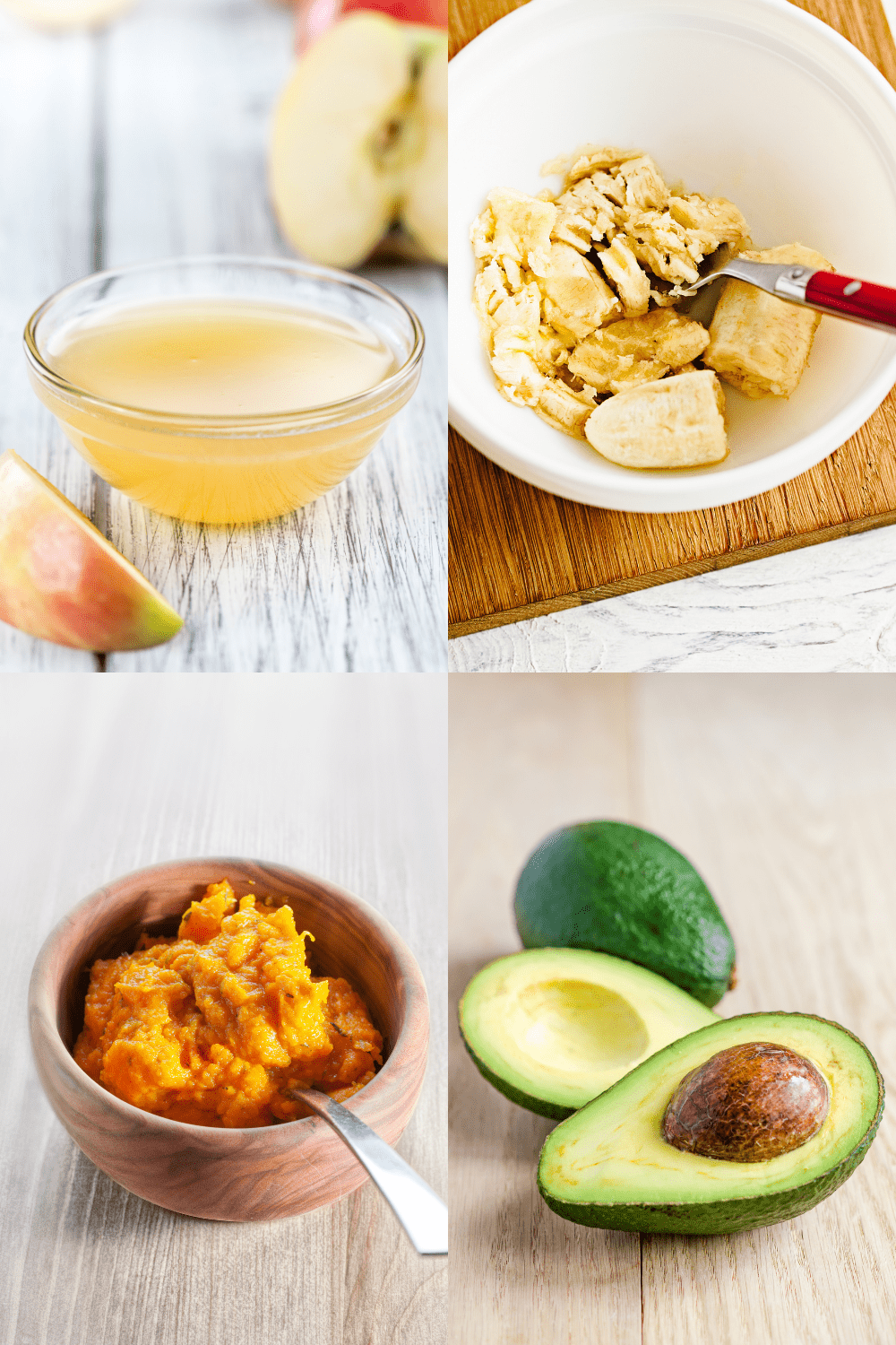 collage of applesauce, mashed bananas, avocados, and pureed pumpkin on wooden surfaces