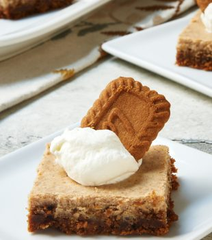 Spiced Cheesecake Bars topped with whipped cream and spiced cookies served o