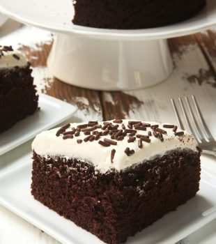 slice of 6-Inch Chocolate Cake with Marshmallow Frosting on a square white plate