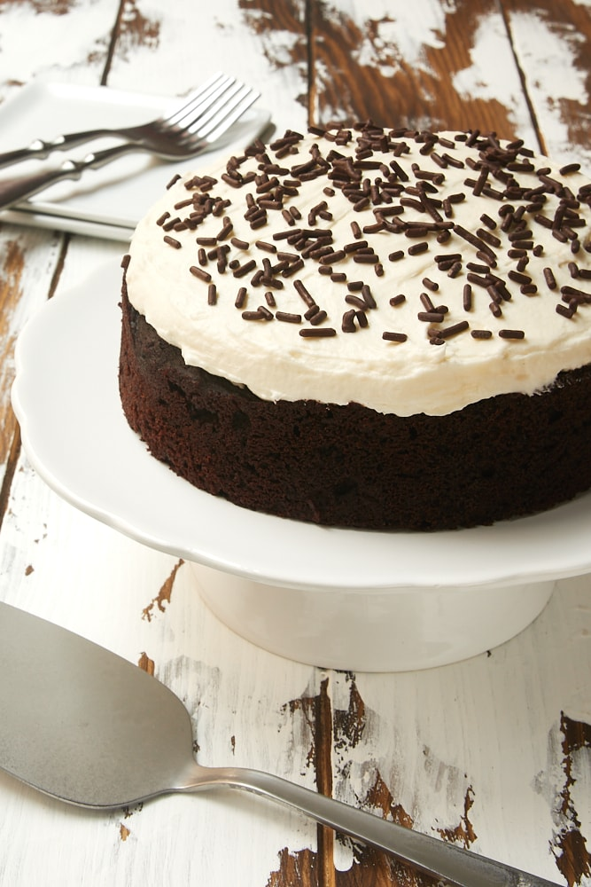 6-Inch Chocolate Cake with Marshmallow Frosting on a white cake stand