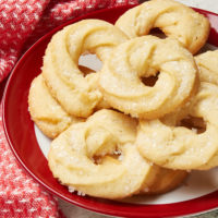 Danish Butter Cookies on a red-rimmed white plate