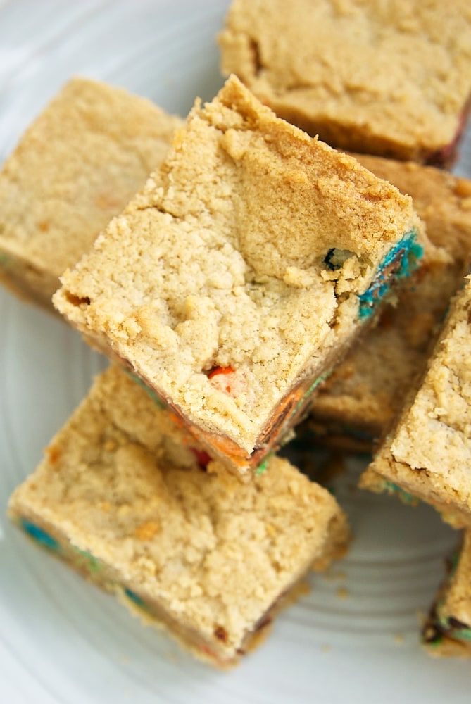 overhead view of stacks of Peanut Butter Cookie Bars
