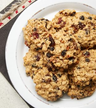 overhead view of Winter Fruit Oatmeal Cookies on a white plate