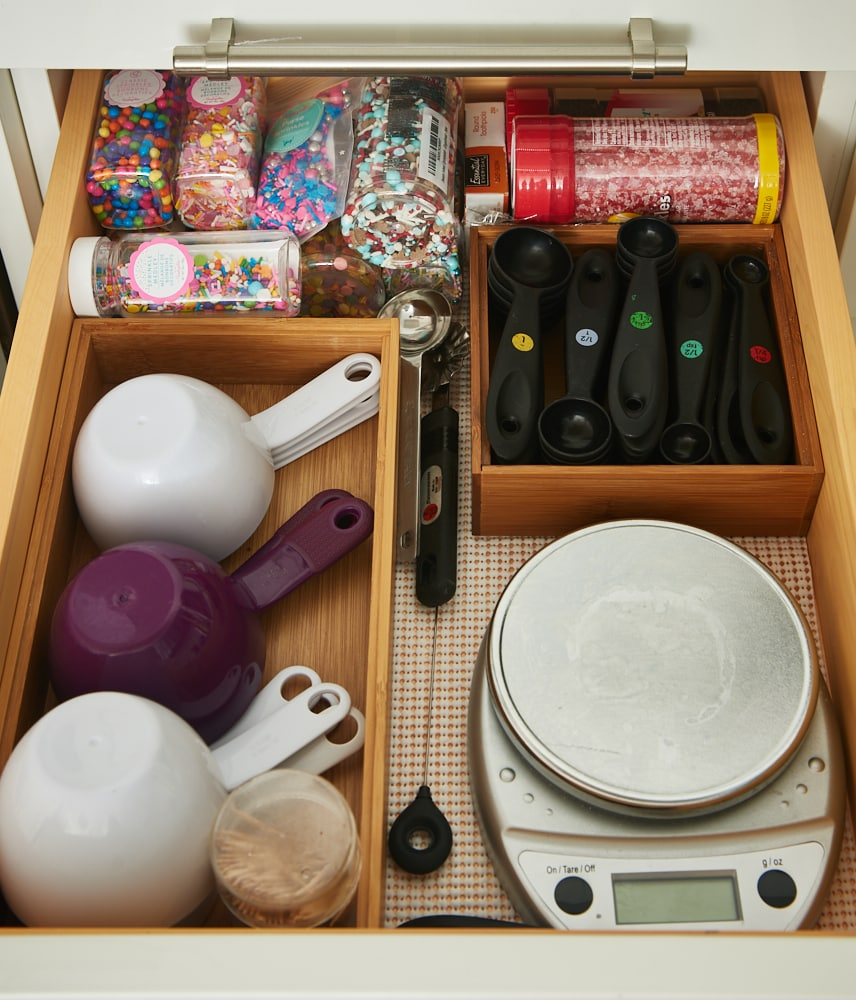 baking tools organized in a kitchen drawer