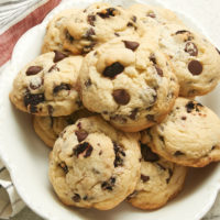 Cherry Chocolate Chip Cookies on an oval white plate