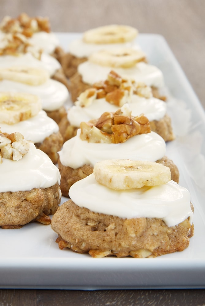 Hummingbird Oatmeal Cookies on a long white serving tray