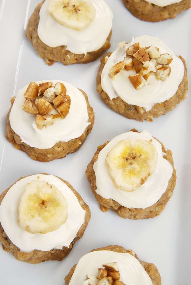 overhead view of Hummingbird Oatmeal Cookies on a white tray