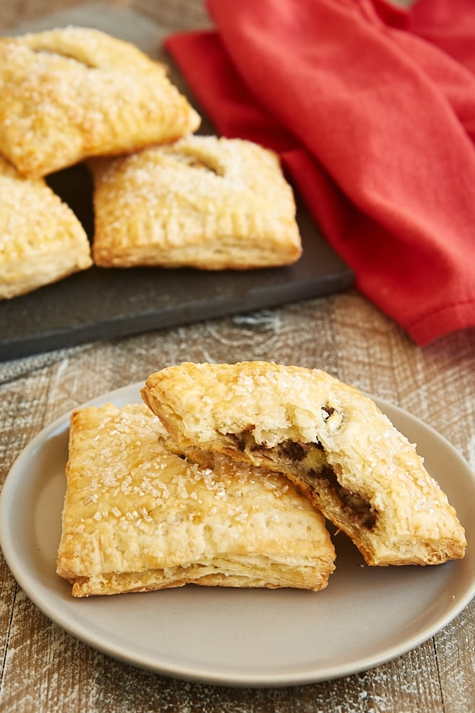 Chocolate Chip Cream Cheese Hand Pies on a light gray plate