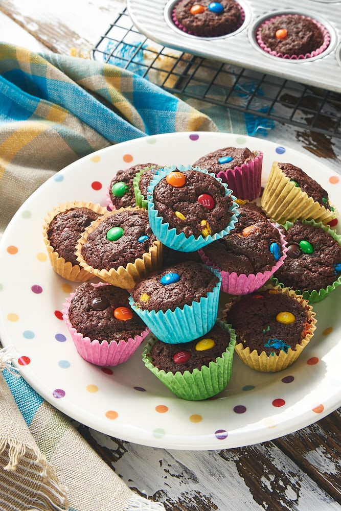 M&M Brownie Bites on a polka-dotted plate
