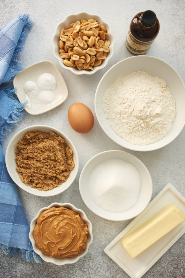 overhead view of ingredients for Peanut Butter Cookies
