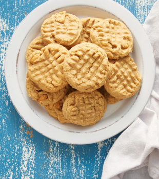 overhead view of Peanut Butter Cookies on a white plate