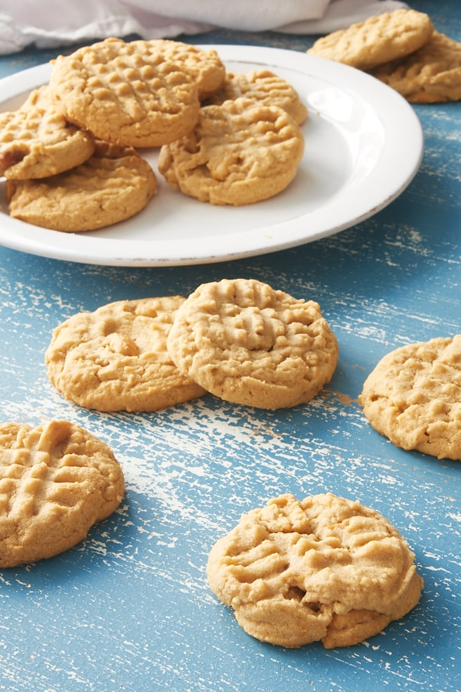 Peanut Butter Cookies on a blue surface