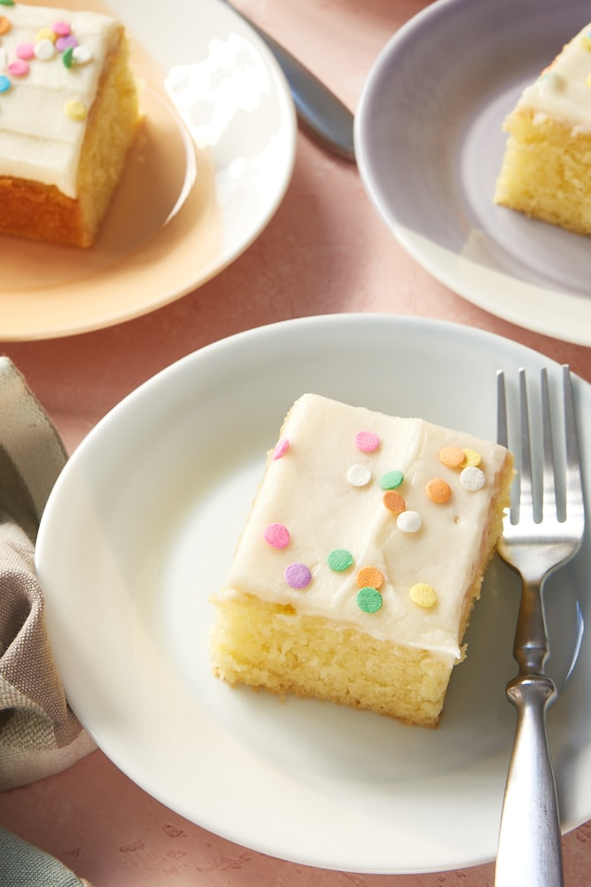 slices of Vanilla Cake with Vanilla Frosting on colorful plates
