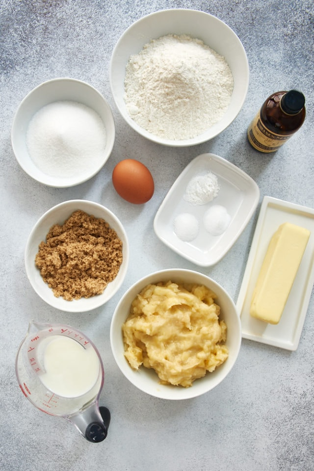 overhead view of ingredients for Banana Cream Cheese Muffins | Bake or Break