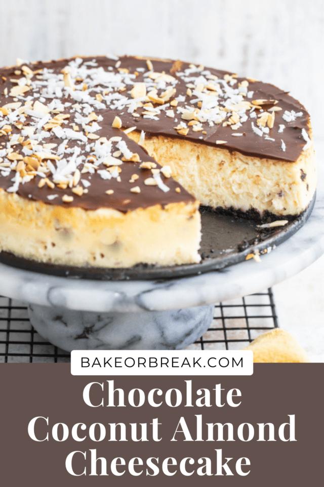 Chocolate Coconut Almond Cheesecake bakeorbreak.com