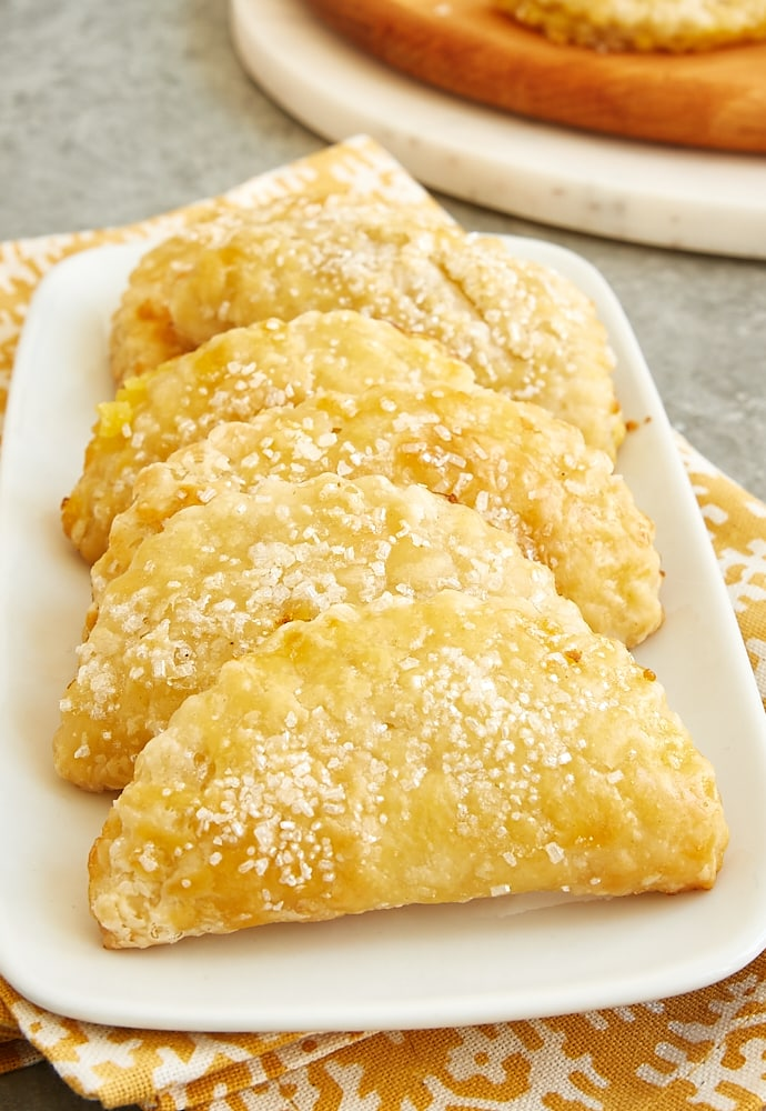 Ginger Lemon Hand Pies on a white serving plate