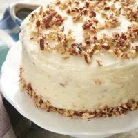 6-Inch Hummingbird Cake on a white cake stand