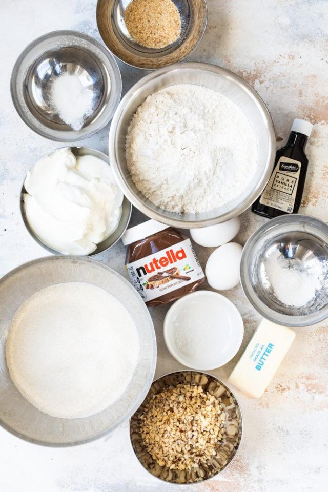 overhead view of ingredients for Sour Cream Hazelnut Bundt Cake