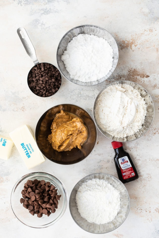 ingredients for Chocolate-Dipped Peanut Butter Meltaway Cookies