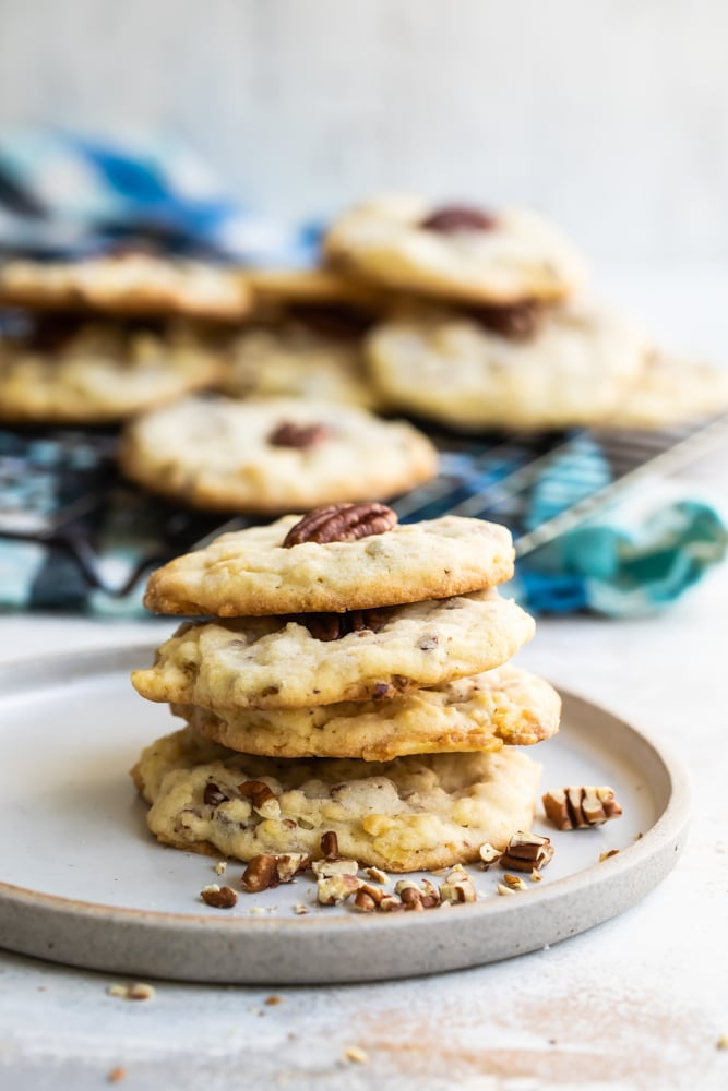 stack of Potato Chip Cookies on a white plate