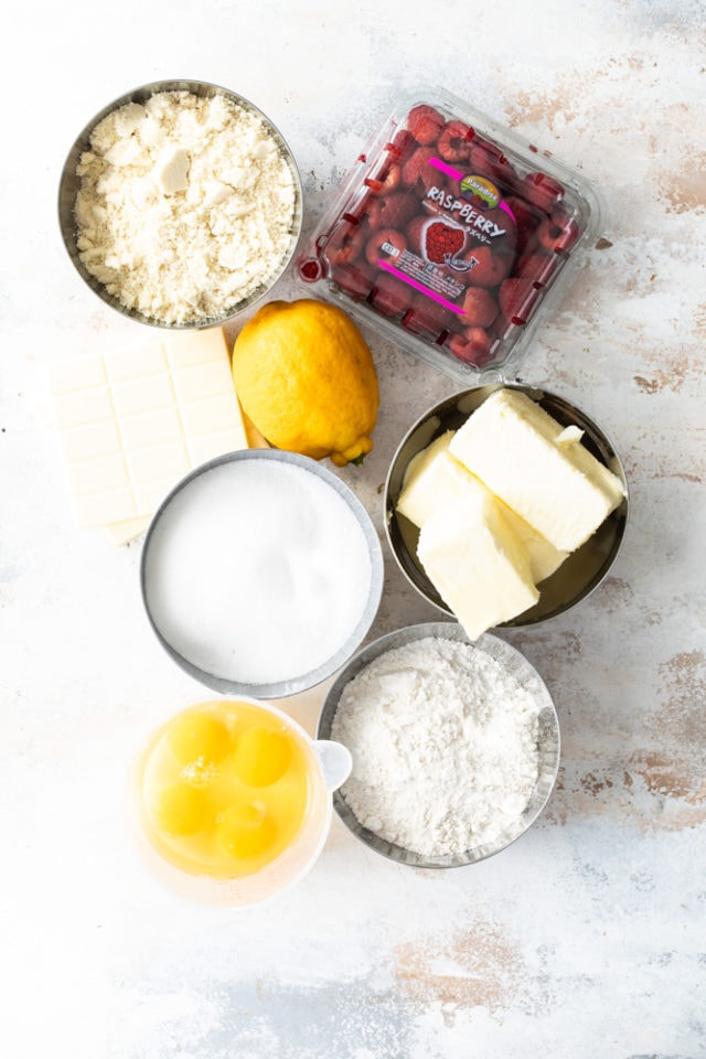 ingredients for Raspberry White Chocolate Almond Loaf