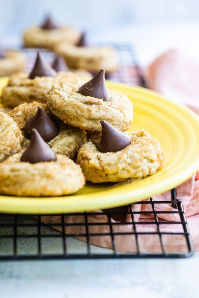 Chocolate Caramel Kiss Cookies on a yellow plate