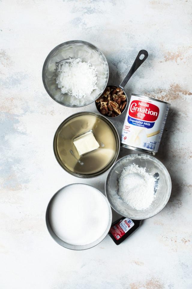 ingredients for coconut-pecan sauce