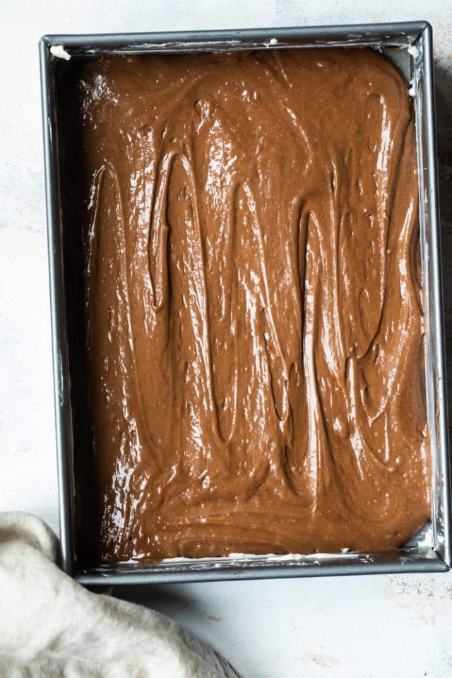 cake batter in a 9x13 baking pan