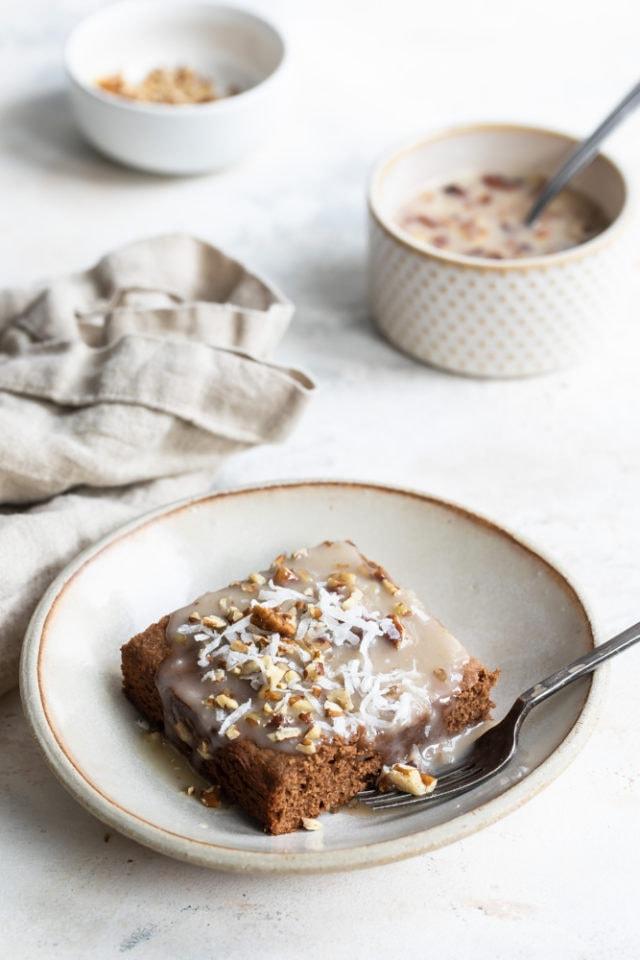 German Chocolate Cake on a beige plate