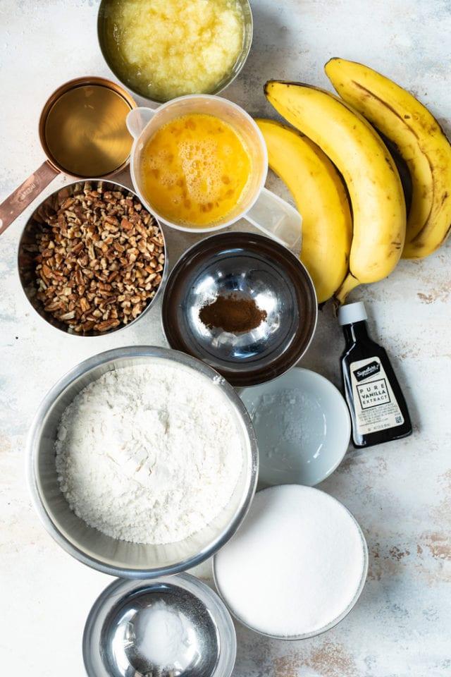 ingredients for Hummingbird Bundt Cake