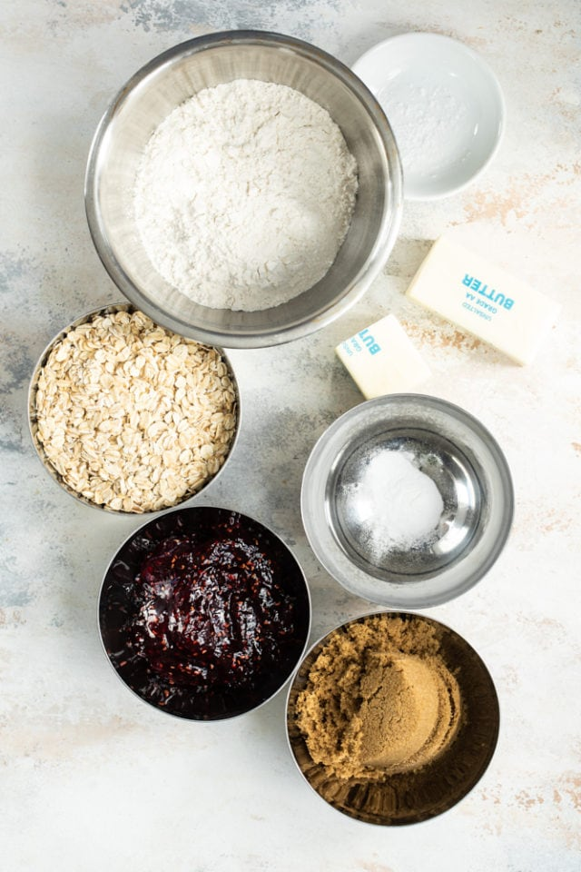 overhead view of ingredients for Raspberry Bars
