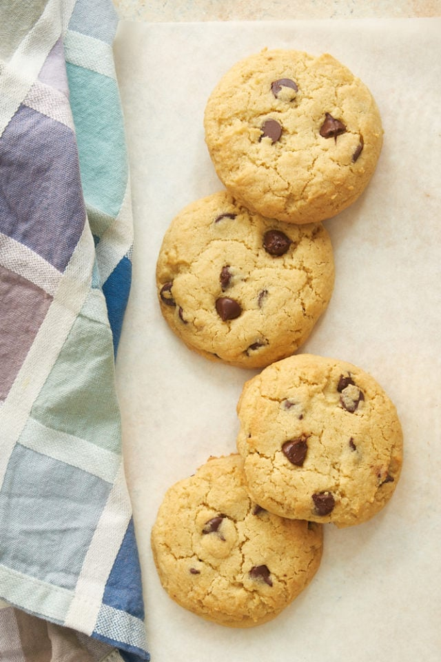 overhead view of Small Batch Chocolate Chip Cookies on white parchment paper