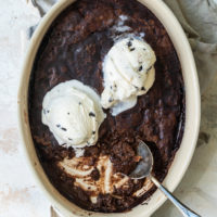 overhead view of Brownie Pudding Cake in an oval baking dish