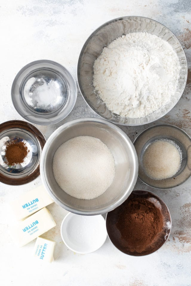 overhead view of ingredients for chocolate shortbread