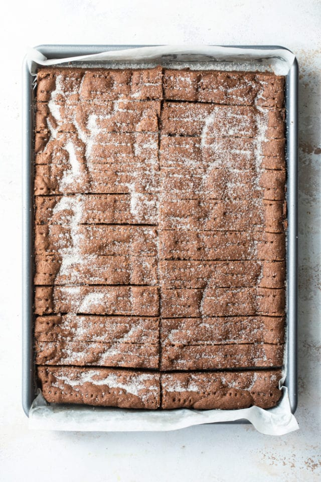 overhead view of Chocolate Shortbread in a baking pan