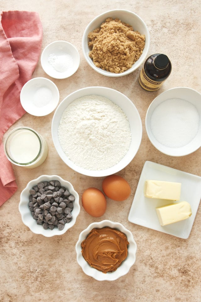 ingredients for Chocolate Chip Cookie Butter Snack Cake