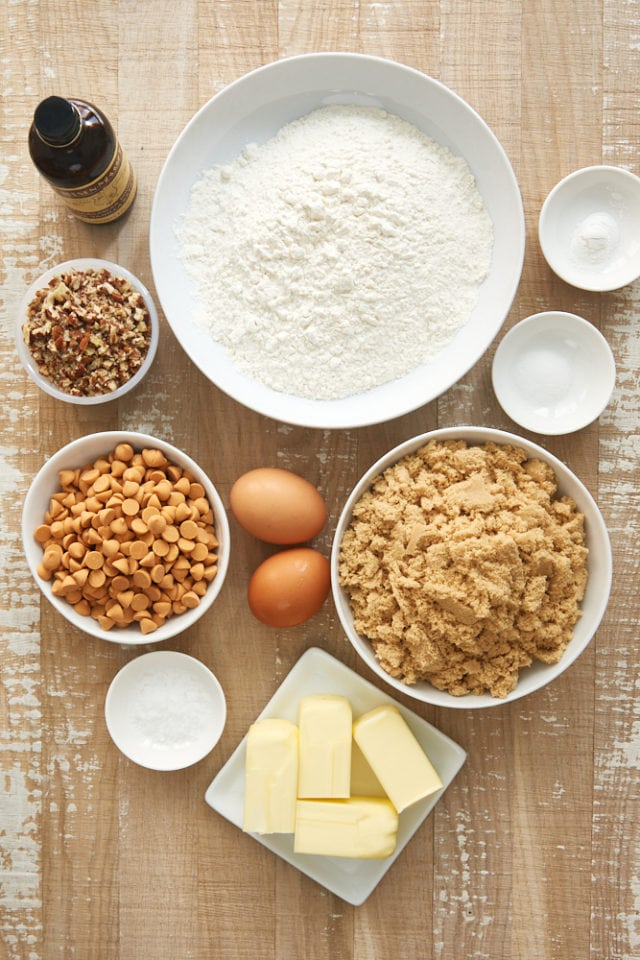 overhead view of ingredients for Salted Butterscotch Blondies