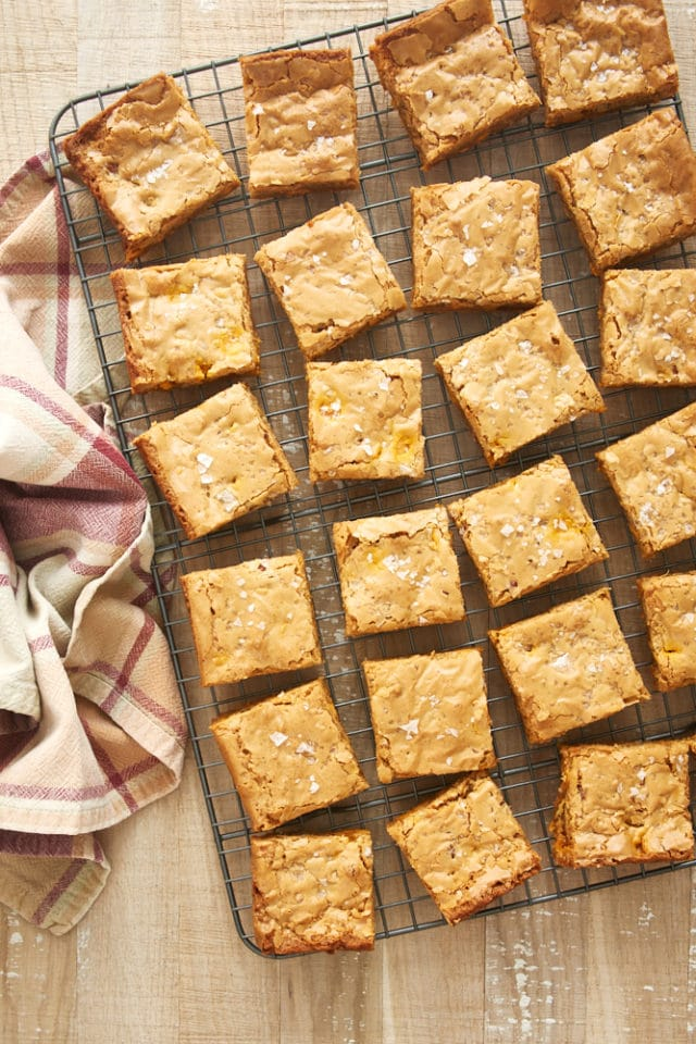 overhead view of sliced Salted Butterscotch Blondies on a wire rack