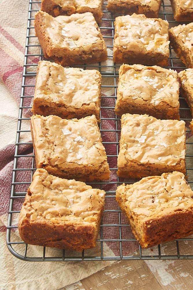 Salted Butterscotch Blondies on a wire rack