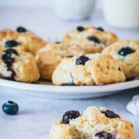 Blueberry Shortcake Cookies on a gray surface and a light gray plate