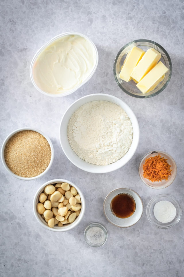 ingredients for Cream Cheese Macadamia Cookies