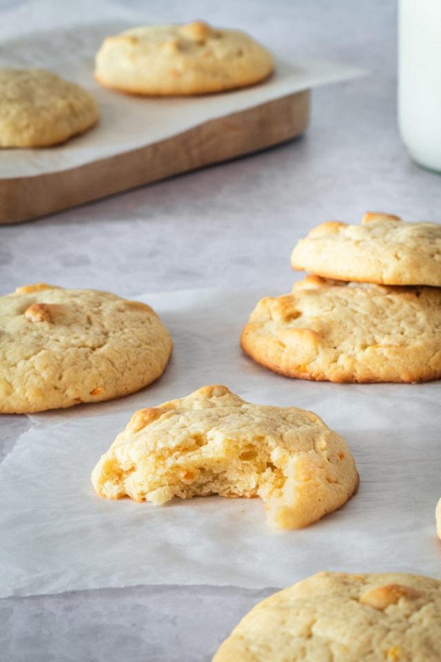 Cream Cheese Macadamia Cookies on a gray surface