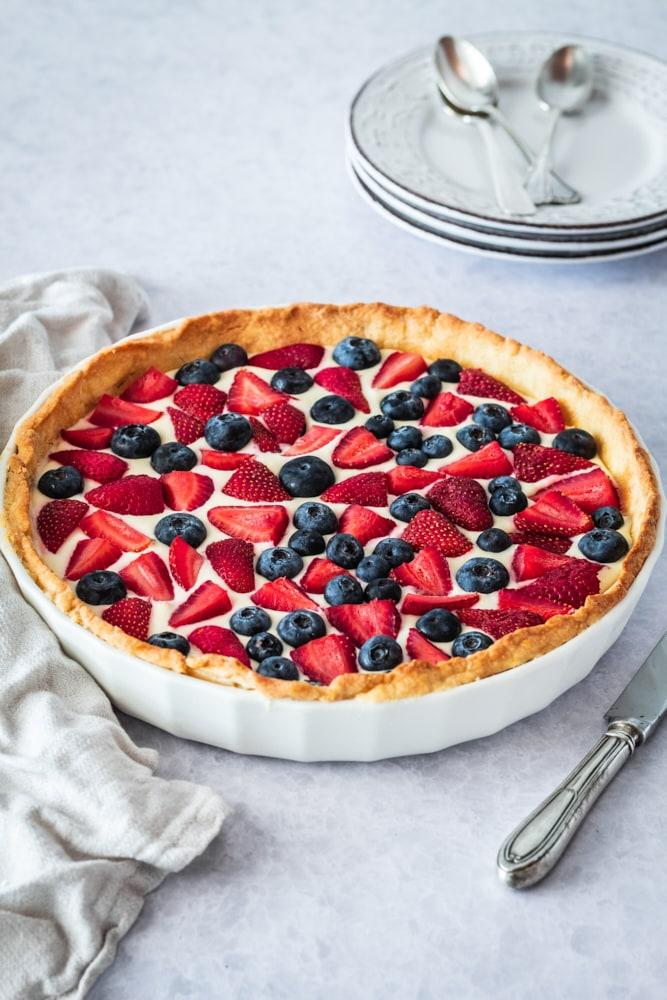 Fresh Berry Tart in a white pie plate