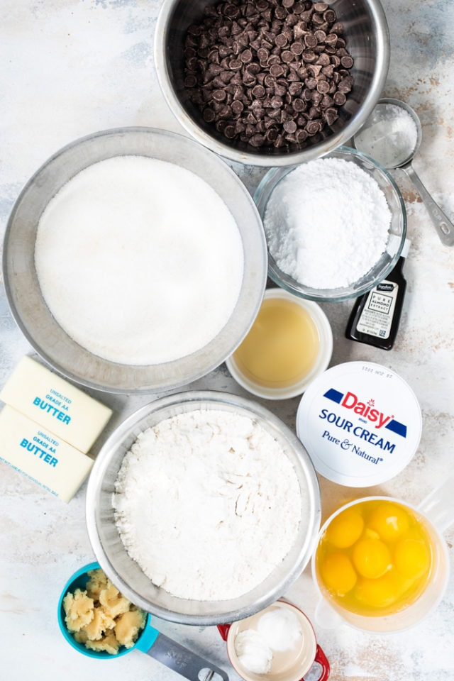 ingredients for Chocolate Chip Almond Cake